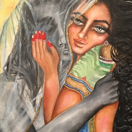 Sangeetha Bansal: 'two halves of a soul', 2018 Oil Painting, Love. Artist Description: Original oil painting of lovers embracing. The woman is protective and possessive of her beloved. That emotion is depicted by the lover covered by her veil. She holds him tenderly, as if to shelter him from all troubles. She wants nothing to harm him. He is secure in ...