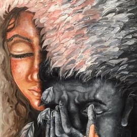 Sangeetha Bansal: 'your angel', 2017 Oil Painting, People. Artist Description: Oil painting of lovers. The woman is her beloved s angel. She gives him strength when he is weak, she loves him through good and bad. She wipes his tears and is there for him.Anyone can love when all is bright and great, but, it takes courage ...