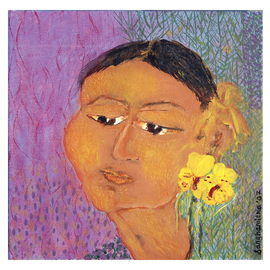 Sanhamitra Das: 'Face', 2008 Acrylic Painting, Figurative. Artist Description:  The theme and subject of the work is purely Indian. The work is in Acrylic medium on cavas. ...