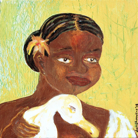 Sanhamitra Das: 'woman and her bird', 2008 Acrylic Painting, Figurative. Artist Description:  The work is figurative and representational. It is very much Indian in theme and character. ...
