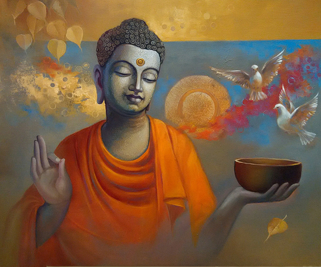 Sanjay Lokhande  'Buddha Ananda', created in 2016, Original Painting Oil.