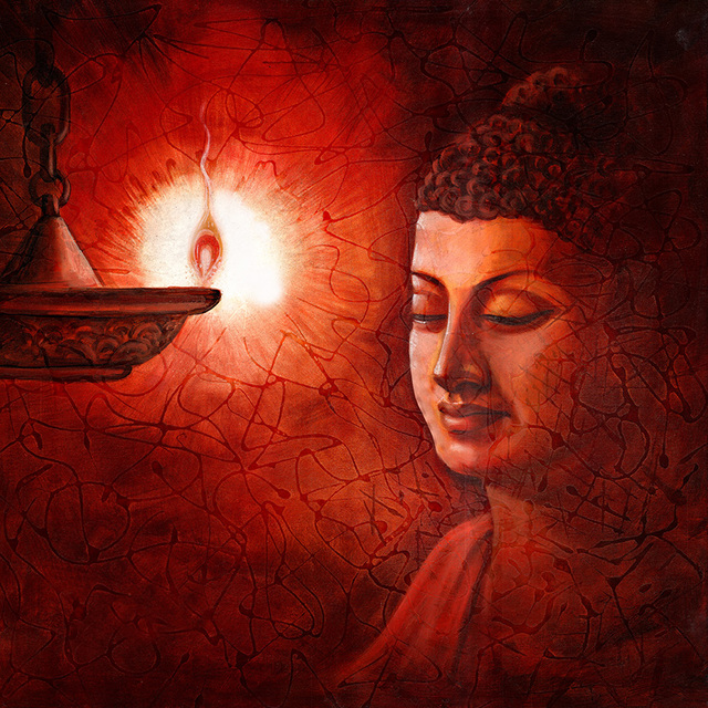 Sanjay Lokhande  'Buddha Reflection', created in 2016, Original Painting Oil.