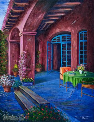 Saeed Hojjati: 'A Villas Patio ', 2011 Oil Painting, Scenic.      This breathtaking painting invites you to the patio of a quaint villa where you can enjoy the atmosphere and simple elegance of the patio and its surroundings. ...
