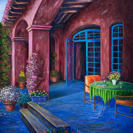 Saeed Hojjati: 'A Villas Patio ', 2011 Oil Painting, Scenic. Artist Description:      This breathtaking painting invites you to the patio of a quaint villa where you can enjoy the atmosphere and simple elegance of the patio and its surroundings. ...