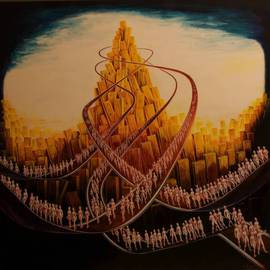 Santiago Ribeiro: 'The City of Slat ', 2008 Oil Painting, Surrealism. Artist Description:  Painting oil on canvas, 21st Portuguese surrealism ...