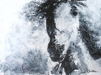 Carol Santora: 'Focus', 2015 Acrylic Painting, Animals.  horses, mustangs, equine, equestrian, expressionism, abstract ...