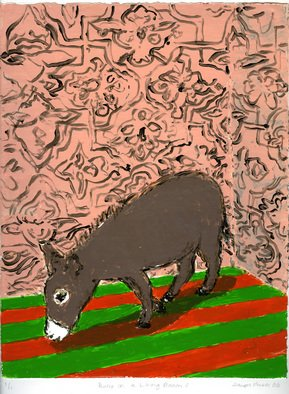 Sarah Hauser: 'Burro in a Room V', 2006 Monoprint, Animals.  This is a strappo monotype, which is created by painting w/ acrylics on glass, layer by layer and then transferring the entire image to paper. ...