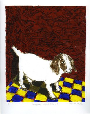 Sarah Hauser: 'Humphrey Knows Things I', 2006 Monoprint, Animals.  This is a strappo monotype, which is created by painting w/ acrylics on glass, layer by layer and then transferring the entire image to paper. ...
