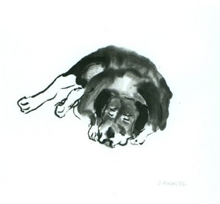 Sarah Hauser Artwork 'Old Joe', 2002. Other Painting. Animals. Artist Description: This sumi painting was inspired by a dog I saw sleeping peacefully in front of an antique store on Bond Street in NYC. ......