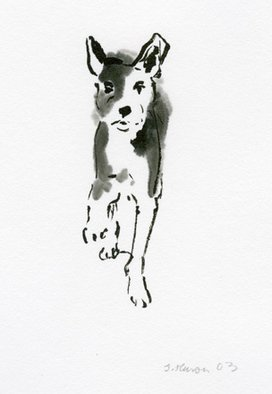 Sarah Hauser Artwork 'Spotted Dog Walking II', 2003. Other Painting. Animals. Artist Description: This is a sumi painting of a dog I saw happily walking on the beach. ......
