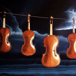 Sarah Longlands: 'Avant le Deluge', 1997 Oil Painting, Ethereal. Artist Description: Before ultra- violet drying cabinets, this was a common way in Italy to dry violin varnish.  These four instruments are all Amati style.  In Amatis time, slow drying oil varnish would have been the only varnish available.This picture is now available as an SA3 archival print see ...