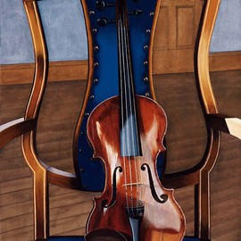 Sarah Longlands: 'Marani sur la Chaise', 1999 Oil Painting, Philosophy. Artist Description:   Mariani violin on my Regency chair.         ...