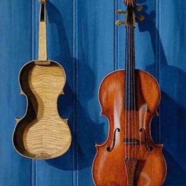 Sarah Longlands: 'Unfinished 2', 2001 Oil Painting, Philosophy. Artist Description:  Unfinished violin and tenor viola hanging on match boarding. ...