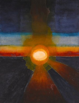 Sarah Longlands: 'poached egg sunrise', 2017 Watercolor, Space. Artist Description: Sunrise from the International Space Station can look quite surreal and to me this one really does look like a poached egg. ...