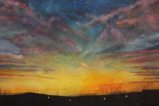 Sarah Longlands: 'railroad sunrise', 2017 Watercolor, Ethereal. Artist Description: A painting made from a combination of two photographs one a sunrise seen from a train in Illinois, the other another sunrise seen on the east coast of Scotland. Taken by two friends, nearly on the same day.This picture is now available as an SA3 archival print ...