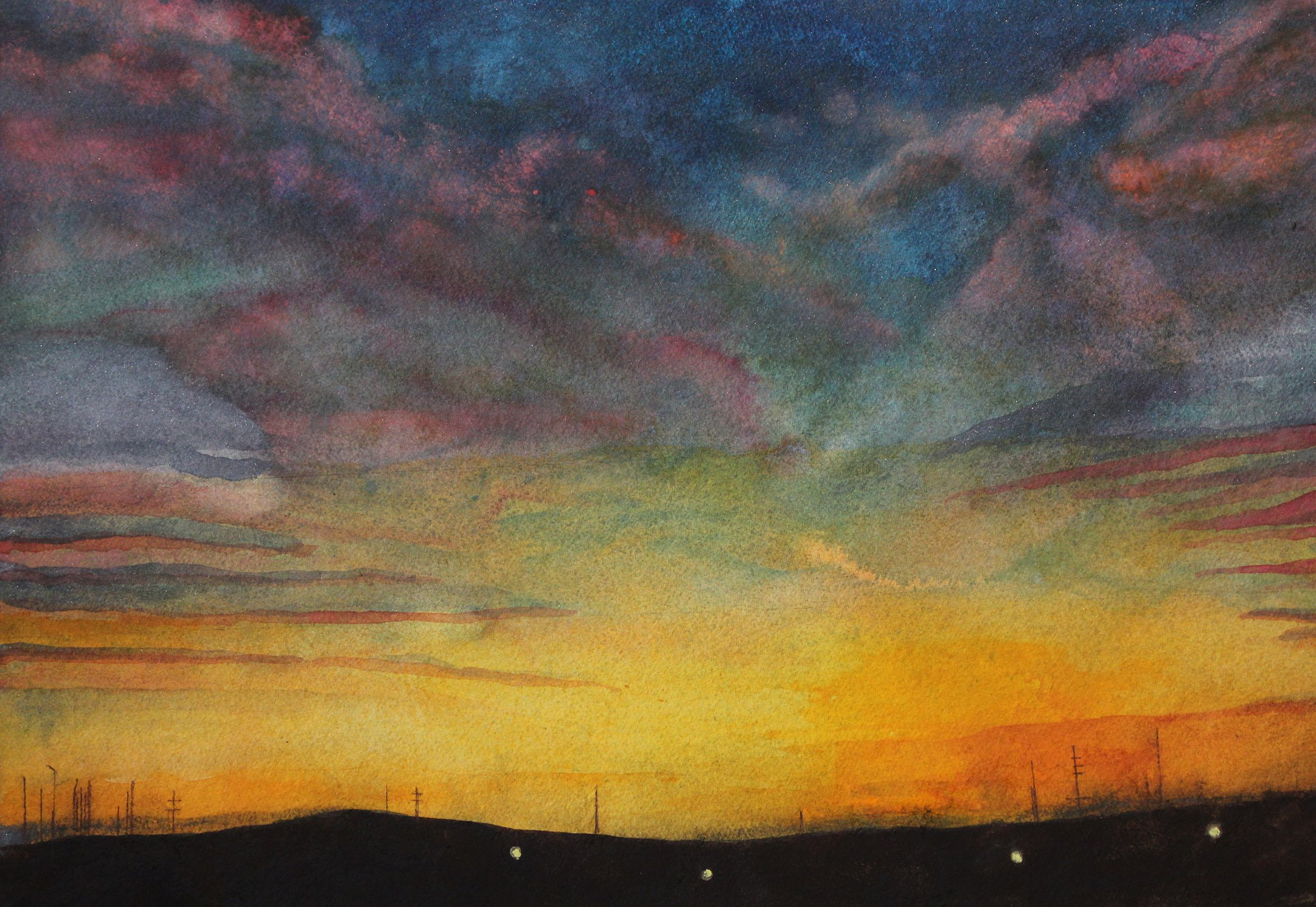 Sarah Longlands: 'railroad sunrise', 2018 Giclee, Ethereal. Made from a watercolour from a combination of two photographs one a sunrise seen from a train in Illinois, the other another sunrise seen on the east coast of Scotland. Taken by two friends, nearly on the same day.This is an archival print on 310gsm Canson lustre paper. The ...