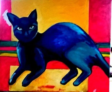 Sarangello Raquel: 'Blue cats', 2017 Oil Painting, Animals. CATS ANIMAL PAINTING canvas blue...