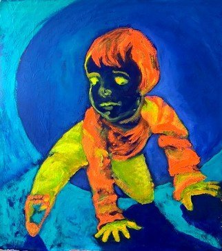 Sarangello Raquel: 'children play', 2017 Acrylic Painting, Expressionism. Artist Description: children, play, blue, painting, ...