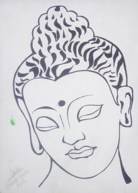 Art Sbk  'Gautam Buddha Drawing', created in 2018, Original Drawing Ink.