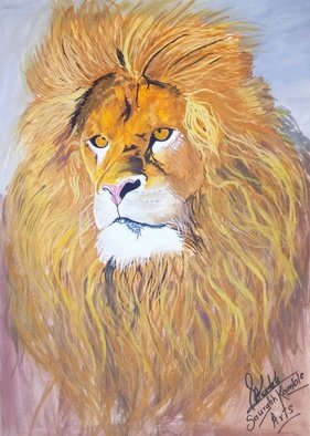Art Sbk: 'lion painting', 2018 Oil Painting, Animals. Artist Description: This artwork shows a lion...