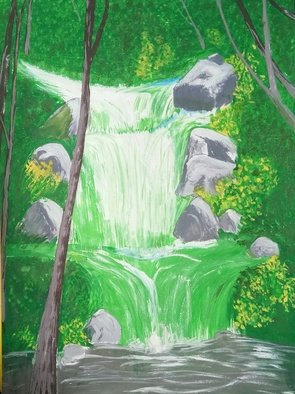 Art Sbk: 'waterfall in jungle', 2018 Oil Painting, nature. Artist Description: I made this with beautiful oil paint...