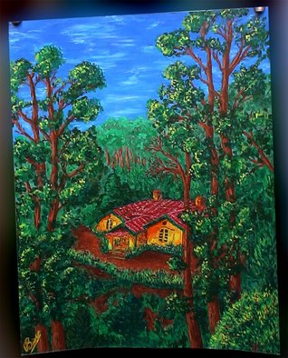 Shachindra Bisht: 'Paradise', 2009 Acrylic Painting, Scenic.  Stuck in the travails of city life, my heart longs for the place I was born in- Nainital- a picturesque hillstation of India. Paradise beckons - just a breath away, yet so far. . . . ...