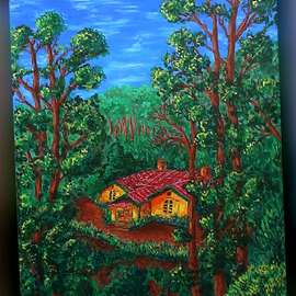 Shachindra Bisht: 'Paradise', 2009 Acrylic Painting, Scenic. Artist Description:  Stuck in the travails of city life, my heart longs for the place I was born in- Nainital- a picturesque hillstation of India. Paradise beckons - just a breath away, yet so far. . . . ...