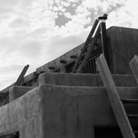 Susan Brannon: 'Acoma Pueblo', 2012 Black and White Photograph, Landscape. Artist Description:   New Mexico, desert, Acoma Pubelo, photography, susan brannon, landscape, black and White, Black & white, sky, pueblo, home, ladder, Indians, reservation            ...