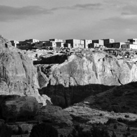 Susan Brannon: 'Acoma Sky City', 2012 Black and White Photograph, Landscape. Artist Description:    New Mexico, desert, Acoma Pubelo, Acoma Sky City, photography, susan brannon, landscape, black and White, Black & white, sky, pueblo, home, desert, Native American, Indians, reservation, clouds, sunlight, bushes            ...