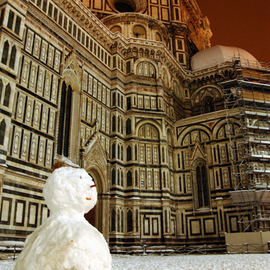 Susan Brannon: 'Duomo and Snowman', 2012 Color Photograph, Culture. Artist Description:  Duomo, Florence, Italy, snow, snowman, nightscape, dome, history, christmas, life, documentary, culture,  photography, susan brannon        ...