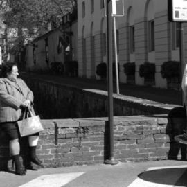 Susan Brannon: 'Italian Culture', 2012 Black and White Photograph, Culture. Artist Description:    Lucca, Italy, sitting, staring, women, black and white, cityscape, outside, divided, documentary, culture,  photography, susan brannon     ...