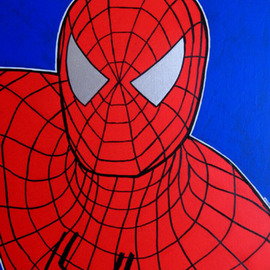 David Mihaly: 'Spiderman', 2008 Acrylic Painting, Culture. Artist Description:  Spiderman, Spiderman - does whatever a spider can ...