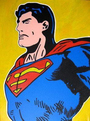 David Mihaly: 'Superman', 2008 Acrylic Painting, Comics.  Faster than a speeding bullet. . . ...