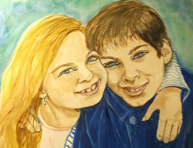 Lenore Schenk  'Brother And Sister', created in 2014, Original Watercolor.