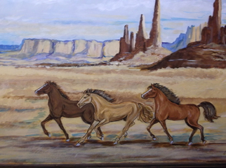 Animals Acrylic Painting by Lenore Schenk Title: Roaming Hores, created in 2011