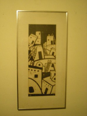 Scott Mohr: 'Taos Pueblo', 1976 Woodcut, Abstract Landscape. Artist Description:  A visit to Taos Pueblo in New Mexico brought out this cubist interpretation that makes me think of the chilren's board game