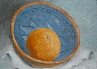 S. Josephine Weaver Artwork Blue Bowl with Orange, 2009 Oil Painting, Still Life
