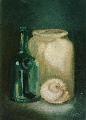 S. Josephine Weaver Artwork Bottle, Jar, Seashell, 2009 Oil Painting, Still Life