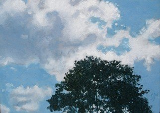 S. Josephine Weaver Artwork Treetop and Clouds, 2008 Oil Painting, Still Life