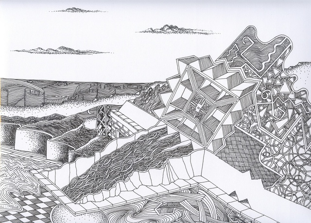Robert H. Stockton  'Meanwhile On The Opposite Shore', created in 2006, Original Drawing Pen.
