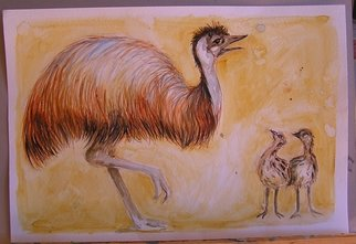 Animals Watercolor by Leila Desborough titled: Emu and chickes, created in 2007