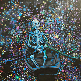 Sean Willett: 'stargazer', 2017 Acrylic Painting, Home. Artist Description: Blue skeleton ...