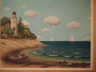 Seanna Mendez: 'lighthouse', 2019 Oil Painting, Sailing. Artist Description: An Image resembling Cheboygen Lighthouse with Scenery...