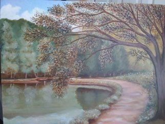Seanna Mendez: 'willow river', 2019 Oil Painting, Scenic. Artist Description: Willow on the Water...