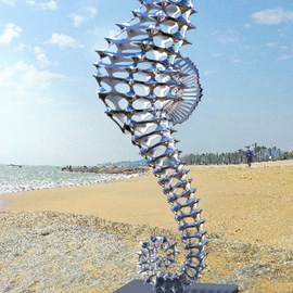Sebastian Novaky: 'hippocampus', 2016 Steel Sculpture, Abstract. Artist Description: Big Seahorse Stainless Steel sculpture.Large Seahorse Stainless Steel sculpture for sale for Outside Outdoors in the Yard or Garden by the International Sculptor Sebastian Novaky. ...