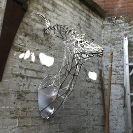Sebastian Novaky: 'kudu', 2016 Steel Sculpture, Abstract. Artist Description: Mounted Antelope Head sculpture, Kudu Trophy Head stainless steel sculpture Mask statue for sale for Indoors Inside Interior decoration in the Home. Another Sebastian Novaky African Animal Contemporary masterpiece. ...