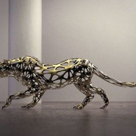Sebastian Novaky: 'leopard', 2015 Steel Sculpture, Abstract. Artist Description: Contemporary Leopard Metal sculpture, Abstract Stainless Steel Stalking Leopard statue for sale for Indoors Inside in your House or Home by the Philosophical Wild Life Sculptor Sebastian Novaky. ...