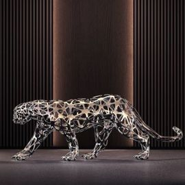 Sebastian Novaky: 'leopard no2', 2018 Steel Sculpture, Abstract. Artist Description: Lifesize walking Leopard sculpture, Stainless Steel Leopard sculpture for sale for display Inside Indoors in your House by The Successful Sculptor Sebastian Novaky.  whho adds. . . . . .  Steel statue of a Leopard with is waling smoothly for hunting.  The artist perfectly depicts the balance and stance of the leopard as ...