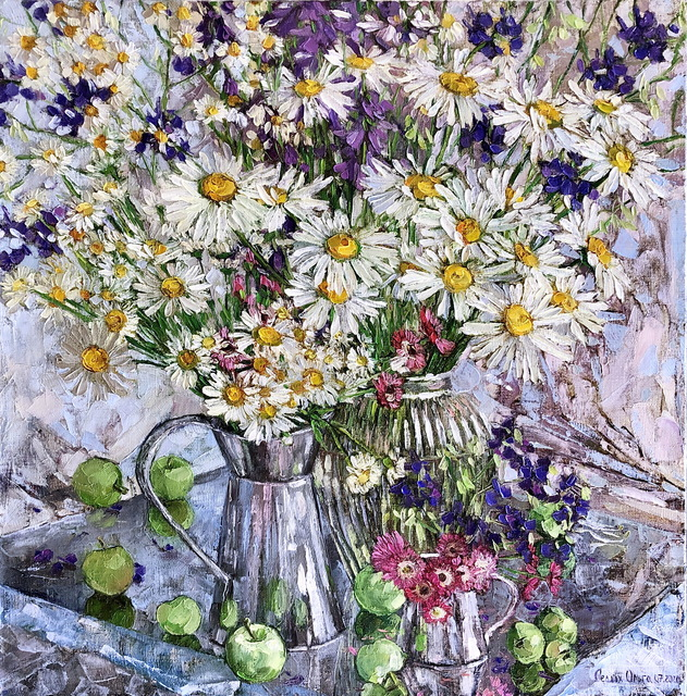 Olga Sedykh  'Bouquet Of Daisies', created in 2020, Original Painting Oil.