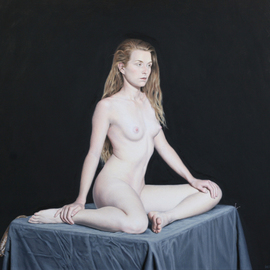 Seidai Tamura: 'Anticipation', 2016 Oil Painting, Nudes. Artist Description:  Oil on Masonite board, 16